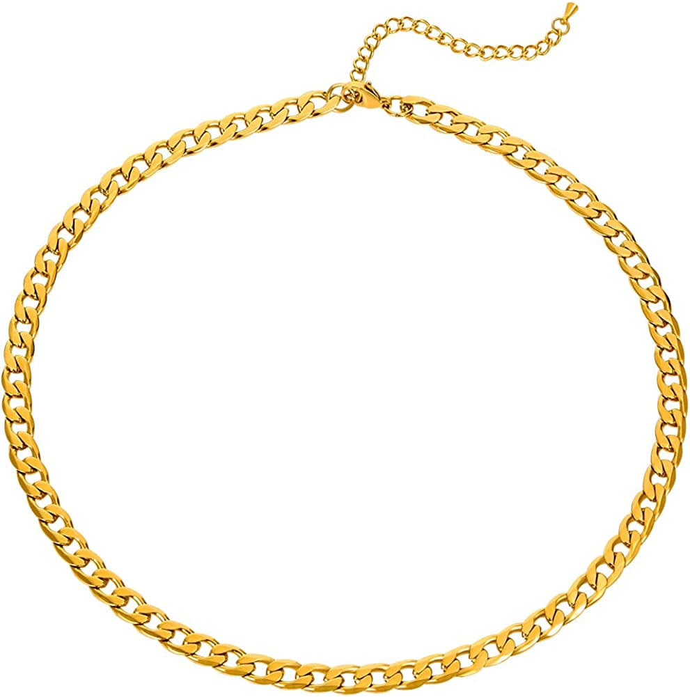 Lilie&WHTE Chunky Chain Necklace for Women Thick Chain Collar Necklace Trendy Necklaces Cable Link Chain Choker Necklaces for Women Chunky Necklace