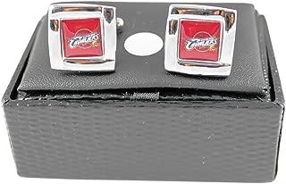 aminco Cleveland Cavs Cavaliers NBA Sports Fan Team Logo Square Engraved Design Mens Cufflinks Gift Box Set