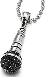 COOLSTEELANDBEYOND Mens Women Steel Microphone Pendant Necklace with Black Cubic Zirconia, 23.6 inches Ball Chain