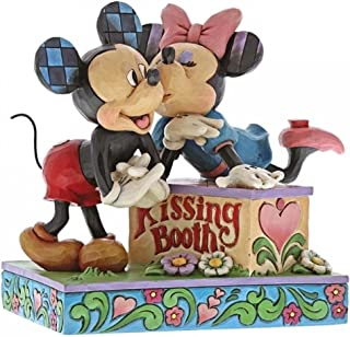 mickey and minnie kissing figurine