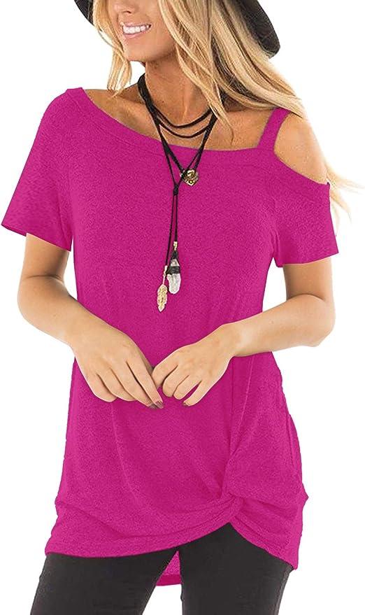 Ptyhk RG Women Short Sleeve Cold Shoulder T-Shirt Blouses Tees Tunic Tops