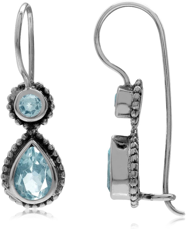2.04ct. Genuine bluee Topaz Antique Finish 925 Sterling Silver Balinese Hook Earrings