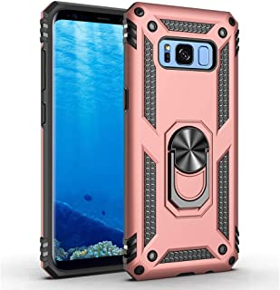 Military Grade Drop Impact for Samsung Galaxy S8 Plus Case(Galaxy S8+) 360 Metal Rotating Ring Kickstand Holder Built-in Magnetic Car Mount Armor Shockproof Cover for Galaxy S8+ Phone Case (Rose Gold)