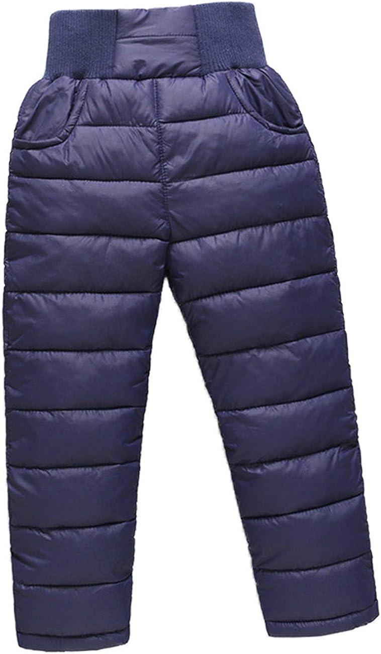 Little Boys Girls Winter Warm Puffer Down Windproof High Waist Elastic Snow Pants Ski Bib Pants