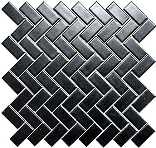 Mozaïek tegel keramiek visgraat zwart mat voor vloer muur bad wc douche keuken tegelspiegel tegelverkleeding badkuip mozaïekmat mozaïekplaat