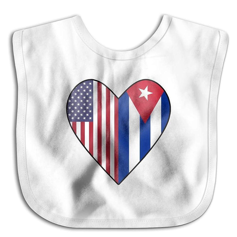 Half Cuba Flag Half USA Flag Love Heart Newborn Baby Boys Girls Cotton Saliva Towel Bibs Waterproof Saliva Towel