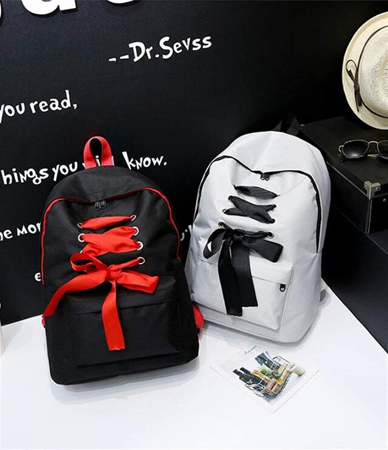 JINQD HOME Personality Backpacks HighCapacity Canvas Ribbon Backpack Student Zipper Schoolbag Leisure Backpack (color   White)