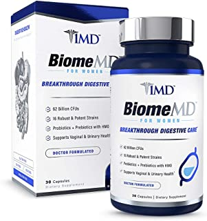 1MD BiomeMD Probiotics for Women - 62 Billion CFUs, 16 Strains with Prebiotics with HMO | Supports Vaginal & Urinary Health - Doctor-Formulated | 30 Capsules