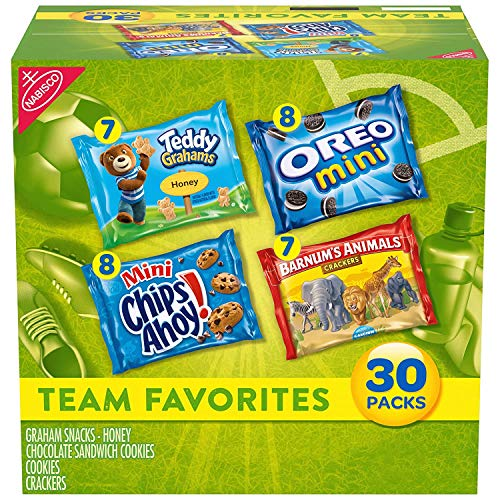 Nabisco Team Favorites Variety Pack, OREO Mini, CHIPS AHOY! Mini, Teddy Grahams Honey & Barnum's Animal Crackers, Halloween Treats, 30 - 1 oz Packs