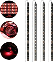 Geeon LED Strip Lights Waterproof 12V Red (620-630nm) for Auto Car Truck Motorcycle Boat Interior Lighting UL Listed 30CM/12'' 3528 SMD Pack of 4