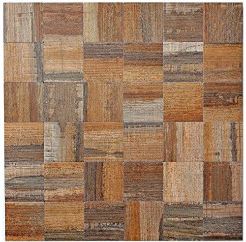 Mozaïek tegels mozaïektegels metaalmozaïek tegel bruin houtlook mat keukentegel wc tegelspiegel tegel | 10 mozaïekmatten