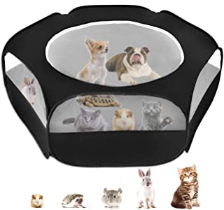 Small Animal Cage Playpen, Pet Playpen with Top Cover Anti Escape Foldable Breathable Transparent Yard Fence for Dog Cat B...