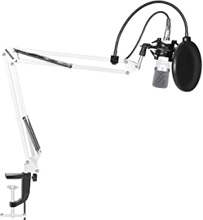 Neewer NW-700 Microphone Kit,includes:(1) Condenser Microphone + (1) Microphone Suspension Scissor Arm Stand with Mounting Clamp+(1) Pop Filter+(1) Shock Mount(White)