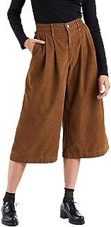 Calça Jeans Levis Wide Leg Pleated Crop Feminino Marrom