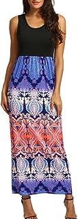 Hevoiok-Kleid Hevoiok Damen Sommerkleid Kleider Frauen Gestreiftes langes Boho ärmellos Strandkleid Mode Beiläufige Rundhals MaxiKleid Abendkleid große größen S-3XL