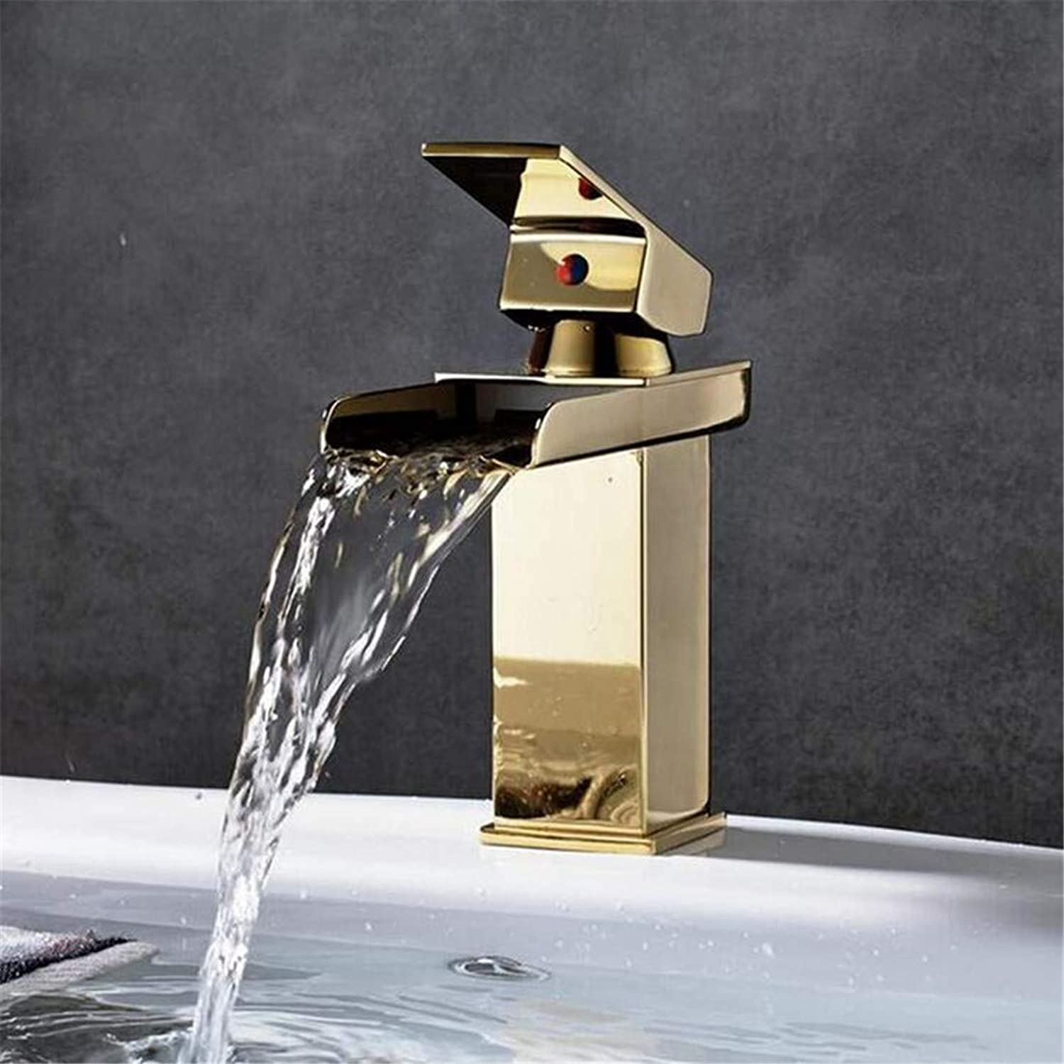Faucet Luxury Plated Modern Faucet Faucet Washbasin Mixer Brass Bathroom Basin Faucet Waterfall Vanity Sink Mixer Tap Hot and Cold Water