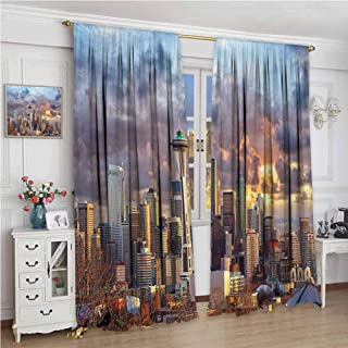Apartment Decor Collection Premium blackout curtains Seattle Skyline at Sunset WA USA Sun Lights Through Dramatic Clouds Scene Pattern Kindergarten noise reduction curtains W96 x L96 Inch Grey Blue I