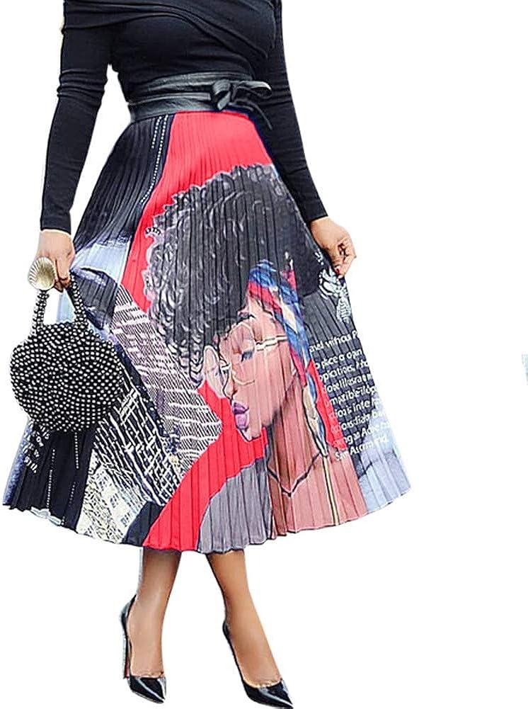 Women's Cartoon Printed Pleated Skirts Graffiti A-Line Skirt Vintage Skirts Red