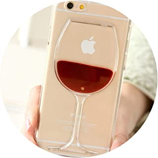 3D Glitter Stars Red Wine Glass Red Lips Liquid Quicksand Transparent Phone Case Cover for iPhone X XS MAX XR 5 SE 6 6S 7 8 Plus,PC Hard Red Wine,for iPhone 5 5S SE