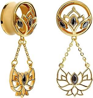 1 Pair Golden Lotus Pendant Stainless Steel Screw Ear Plugs Tunnels Gauges Stretcher Piercings