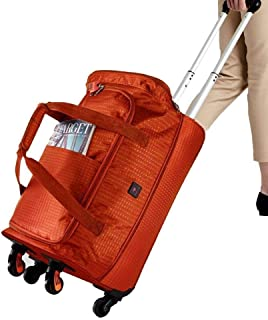 Wheeled Travel Holdall Bags Lightweight Small Cabin Handbag Trolley Travel Luggage (Color : Orange, Size : 22inch)