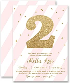 Girls 2nd Birthday Invitations Blush Pink Striped Gold Glitter Look Any Age Personalized Boutique Invites with Envelopes- Stella style