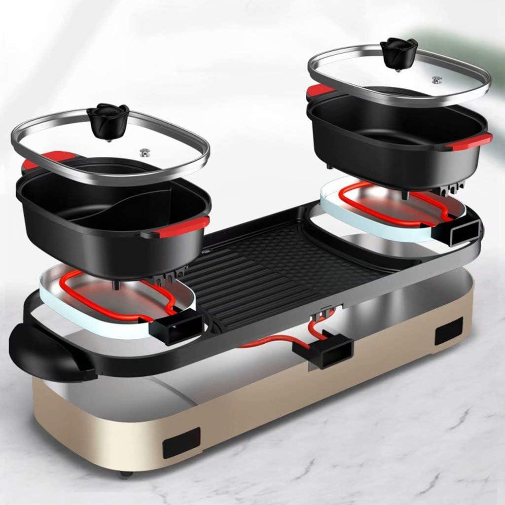 SJZD Gril électrique Multifonction 220V 1800W Hot Pot Pot intégré Amovible avec contrôle de température indépendant, Plat de Cuisson antiadhésif Haute capacité sans fumée Or