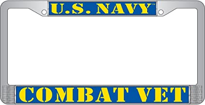 "US NAVY Veteran Metal Chrome License Plate Frame Blue Yellow /"" Made in USA /"""