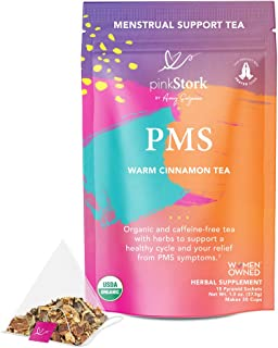 Pink Stork PMS Tea: Warm Cinnamon Tea, 100% Organic, Natural Period Relief from Bloating, Cramping, Heavy Flow, Nausea Rel...