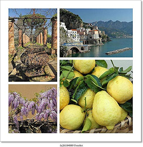 Barewalls Amalfi Coast Collage, Italy, Europe Paper Print Wall Art (12in. x 12in.)