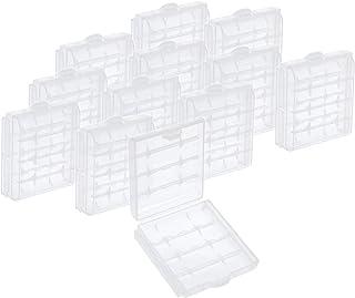 com-four 12x Caja de batería de plástico - Caja de Almacenamiento para baterías y baterías Recargables - Caja de batería para AA y AAA (12 Piezas - Transparente)