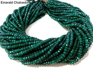 Beads Hub Beautiful AAA+ Chalcedony Gemstone Rondelle Faceted Beads, 3.5 mm to 4 mm, 13 Inch Long Strand (Emerald Chalcedony)