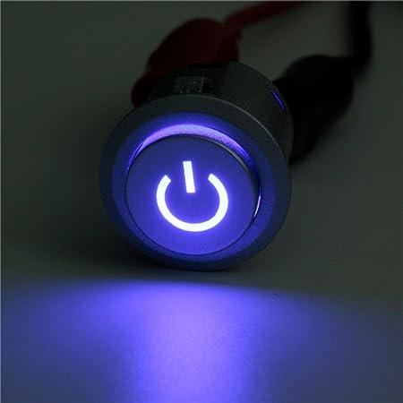 Mfpower 12 V 10 A 22 Mm Led Blau Beleuchtung Schalter Druckknopf Schalter Selbstverriegelungsschalter Metall Wasserdicht An Aus Auto