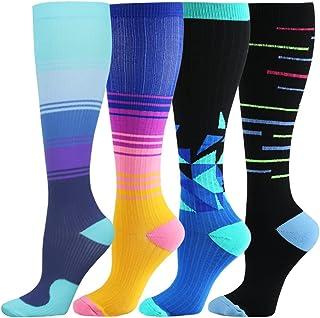 HLTPRO 4 Pairs Compression Socks for Women Men, 15-20 mmHg Knee High Socks for Running, Sports, Nurse, Medical, Travel