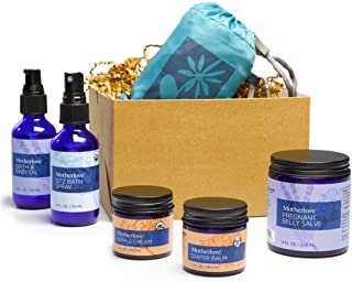 Motherlove - Nurturing Life Gift Box, Body Care for Expecting Moms, Baby Shower Gift Bundle with Pregnant Belly Salve, Sitz Bath Spray, Birth & Baby Oil, Nipple Cream, Diaper Balm & Reusable Tote
