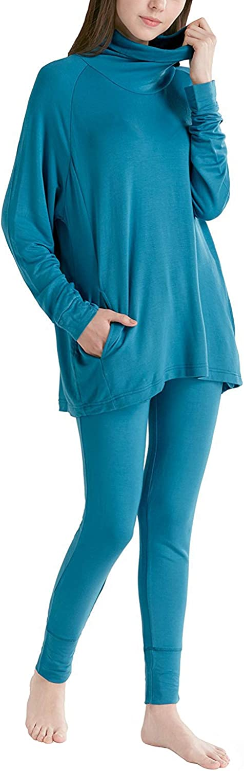 Ink+Ivy Long Sleeve Women Pajama Set  Comfy Pajamas for Woman, Solid Cowl Neck Shirts and Leggings Soft Lounge Wear