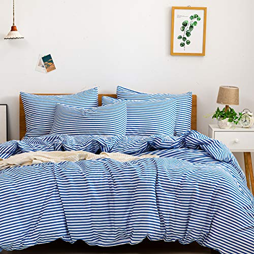 JELLYMONI 100% Natural Cotton 3pcs Striped Duvet Cover Sets,White Duvet Cover with Blue Stripes Pattern Printed Comforter Cover,with Zipper Closure & Corner Ties(King Size)
