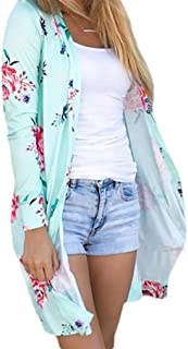Women's Fashion Floral Print Open Front Casual Long Sleeve Mid Long Cardigan