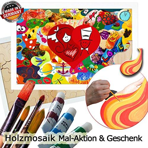 galleryy.net Holzmosaik Klassik zum Bemalen ++ Rahmenfarbe Weiss ++ 80x55cm mit ca. 45 Puzzleteilen