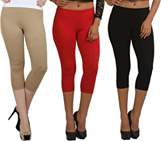 Fablab Capri_Girls_Ladies_Women_Cotton_Kneelength Capri_CLS_190-3-28BeRB,BeigeRedBlack,Free Size Combo Pack of 3.
