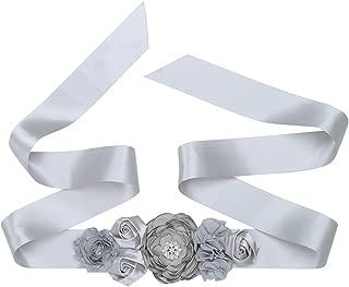 TiaoBug Vintage 3D Floral Pearls Bridal Wedding Dress Sash Belt with Ribbon