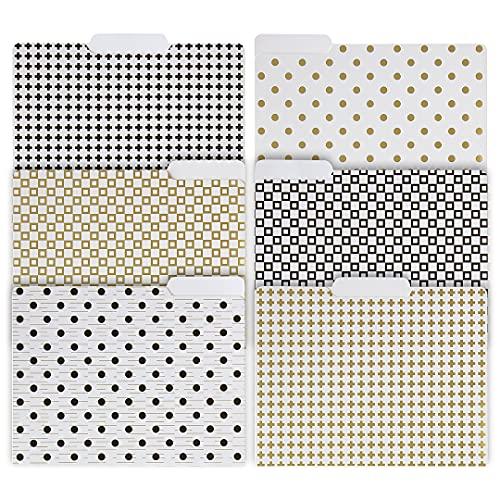 Blu Monaco Decorative File Folders - 1/3 Cut Tabs Gold File Folders - Letter Size - Set of 12-2 Each of 6 Cute File Folders Patterns with Gold Foil