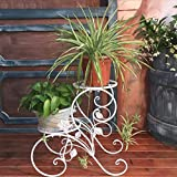 LQQGXL Iron hollow multi-storey flower racks indoor and outdoor European-style living room balcony floor bench Flower stand ( Color : White )