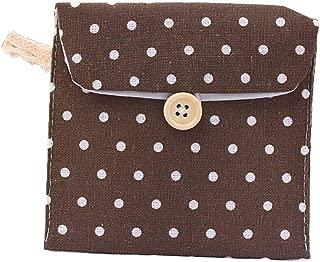 Elenxs Women Girls Linen Small Dot Button Pouch Purse Wallet Coin Purses Organizer Money Key Pouch Case