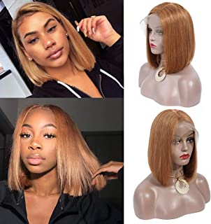 MY LIKE Hair 13x4 Lace Front Short Bob Wigs Brazilian Straight Human Hair Wigs For Black Women 150% Density Pre Plucked with Baby Hair Back to School New Look(10inch,Honey Blonde 27#,Medium Size)