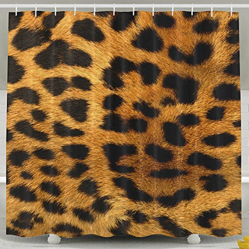 Leopard Print Polyester Fabric Shower Curtain