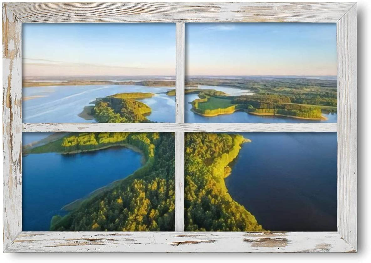 3D Fake Window Wall Art Niedrav Beautful peninsula Over item handling Mail order ☆ lakes between