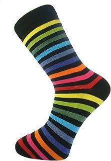 My Socks, Calcetines para hombre (algodón, cómodos, estilo casual y formal), diseño de rayas, color oscuro con rayas de colores variados