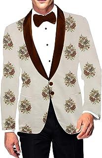 INMONARCH Cream Embroidered Shawl Collar Mens Blazer SBM1045