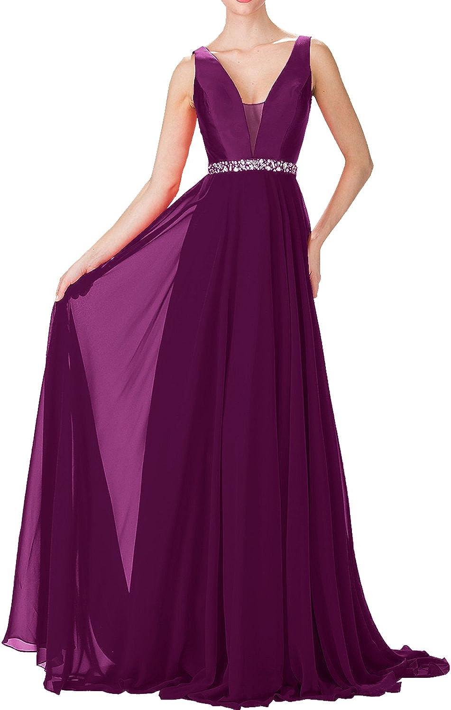 DressyMe Women's Aline Long Prom Ball Dance Dress Spaghetti Straps VNeck